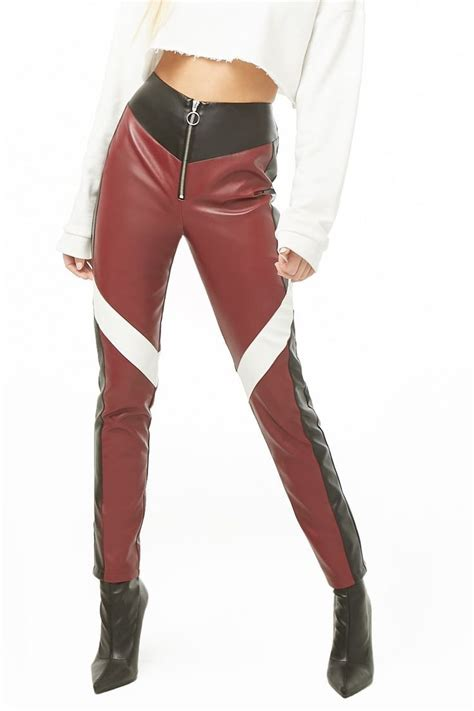 colorblock faux leather pants  images leather