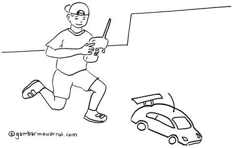 gambar mewarnai anak bermain mobil remote