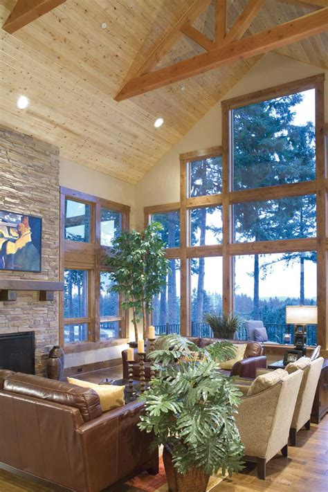 house plans with vaulted great room mountain home plan great room photo 06 plan 011s 0001 house plans and more