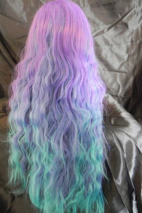 Pastel Ombre Pink Purple Blue Aqua Hair Wavy Pastel