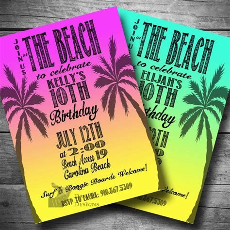 image result  beach theme paint party invitation