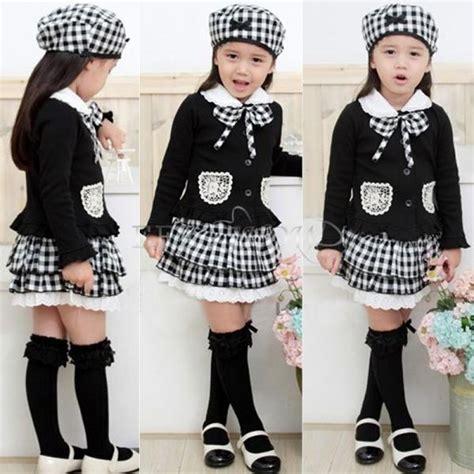 3PCs Girls Kids Korea Preppy Outfit Top Shirt+Plaid Skirt+Hat Dress Clothes 2T-6 | eBay