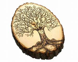 pyrography templates free - personalized family tree wood burned tree slice holiday