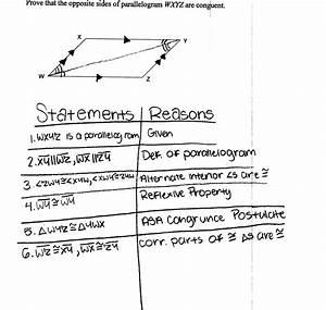 Proving Parallelogram Side Congruence