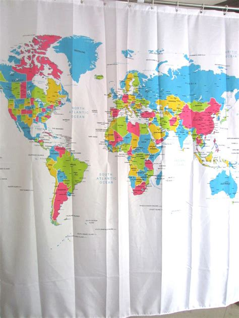 eco friendly world map shower curtain waterproof products