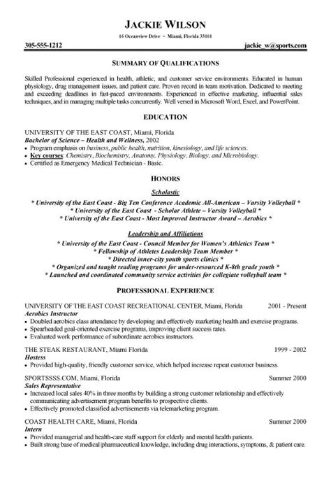 How To Write A Fitness Resume by Athletics Health Fitness Resume Exles Student