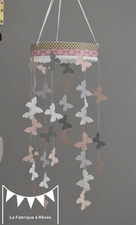 mobile suspension papillons rose poudr 233 gris et blanc