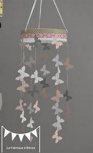 Mobile Lit Bébé Fille : mobile suspension papillons rose poudr gris et blanc d coration chambre b b enfant fille ~ Teatrodelosmanantiales.com Idées de Décoration