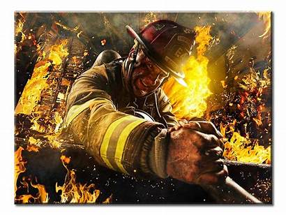 Firefighter Rescue Firefighters Firemen Canvas Volunteer Panel