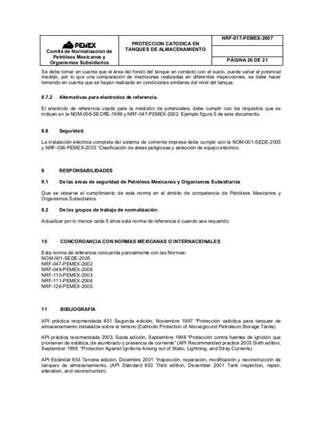 NRF-017-PEMEX-2007 Proteccion Catodica en Tanques de