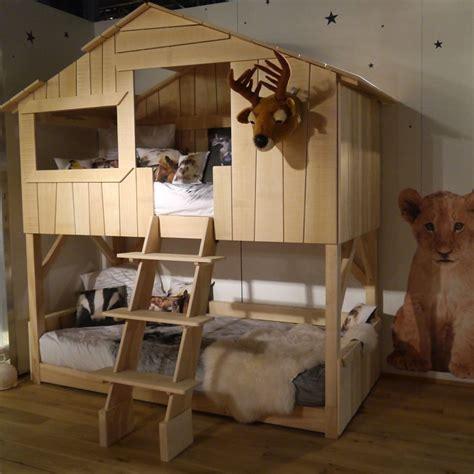 lit cabane simple ou superpose en bois pour chambre