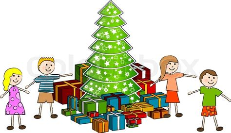 children around christmas tree with gifts stock vector
