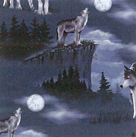 baying   moon wolves wolf fleece fabric print