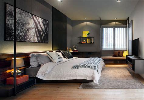 grey walls bedroom modern townhouse  kuala lumpur