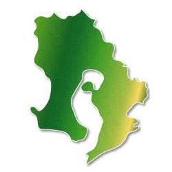 鹿児島県:鹿児島県 緑 地図|フリー イラスト