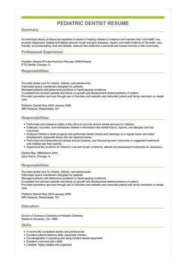 Pediatric Resume by Sle Pediatric Dentist Resume