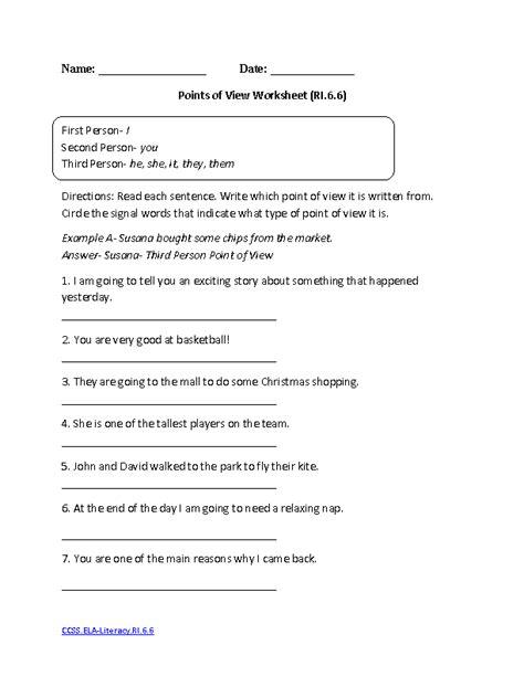 17 best images of grammar worksheets grade 6