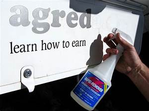 How to remove old rv vinyl lettering graphic ghost images for Vinyl lettering adhesive remover