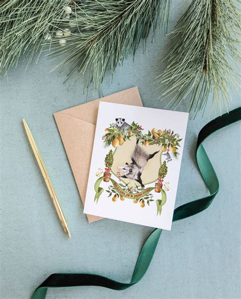 Christmas & holiday holiday card ideas & inspiration. Possum in a Pear Tree Greeting Card - Cami Monet
