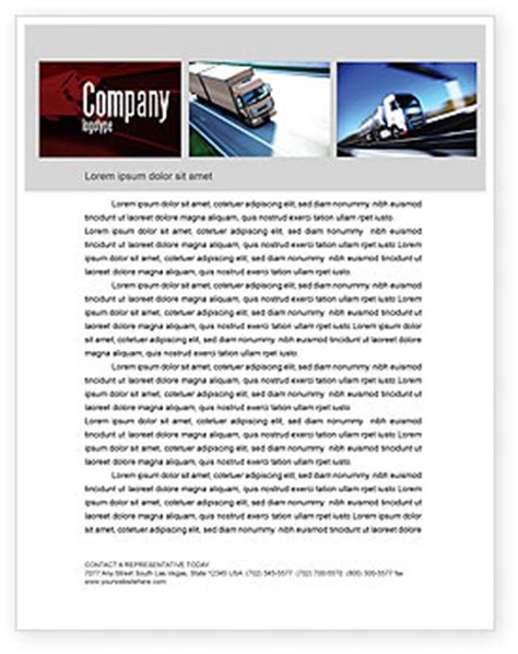 trailer trucks letterhead template layout  microsoft