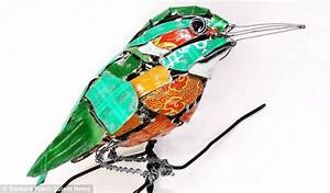 this art really is rubbish sculpture creates animals out With birds made from recycled metal scraps by barbara franc
