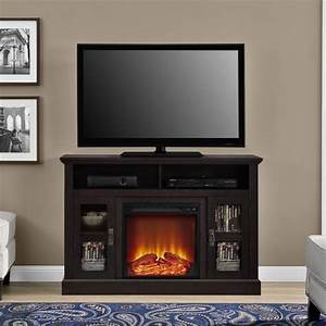 50quot fireplace tv stand in espresso 1764096pcom With home entertainment fireplace living room furniture