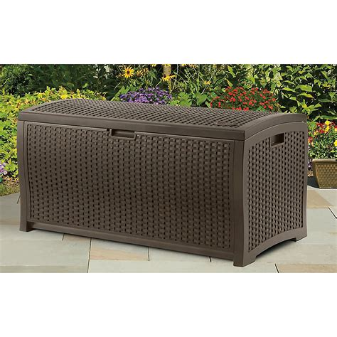 suncast 73 gal deck box wicker resin deck box store it in style with sears