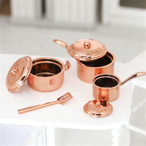 miniature copper pots  pans kitchenware set kitchen