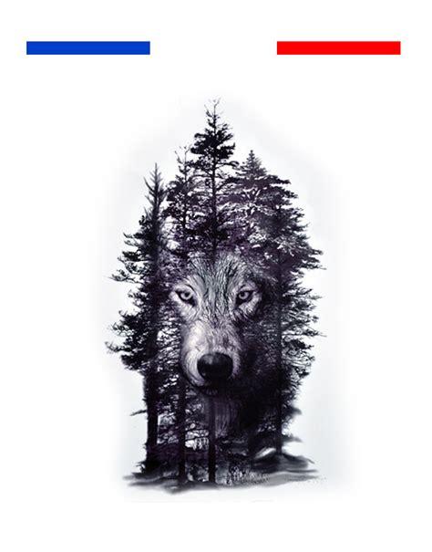 tatouage temporaire arbres loup noir mon petit tatouage