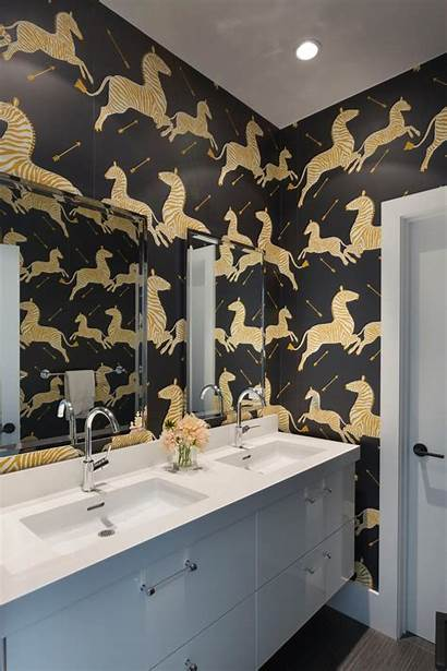 Bathroom Zebra Gold Modern Scalamandre Designs Wall