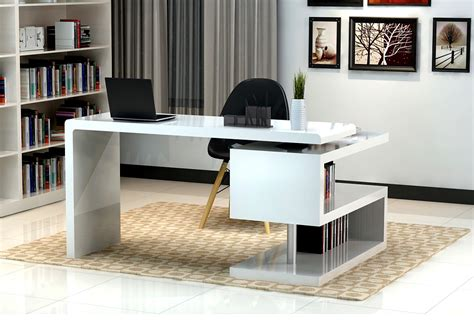 Office Desk With Bookcase by White Glossy Finished Office Desk With S Shaped Bookcase