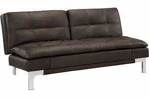 Brown leather sofa bed futon valencia serta euro lounger for Leather sofa bed