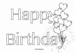 happy birthday hearts shape balloons coloring page