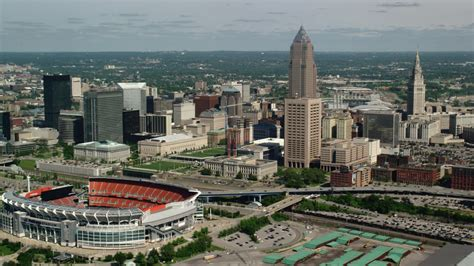 stock footage aerial video  cleveland mall