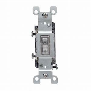 Leviton 15 Amp Illuminated Toggle Switch  Clear