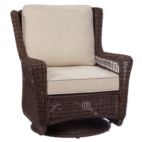 beige rocking chairs patio chairs the home depot hton bay park brown swivel rocking wicker outdoor lounge chair with beige cushion 65