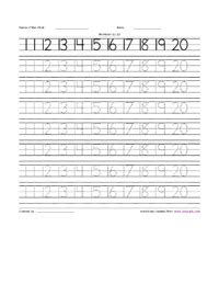 learning numbers 11 to 20 writing practice worksheet
