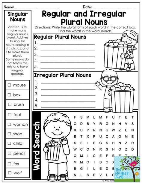 nouns no prep packet second grade irregular plural