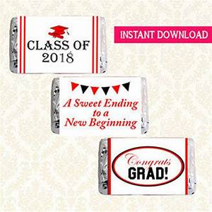 free printable graduation candy bar wrappers templates - items similar to mini candy bar wrappers class of 2018