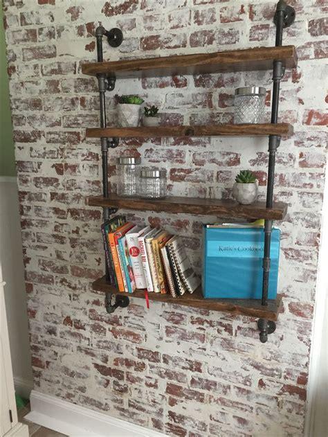 german smear brick wall  industrial pipe shelving home diy brick wall bedroom brick