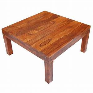 Solid wood traditional rustic square coffee table for Traditional square rustic coffee table design