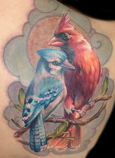 flying cardinal tattoo design