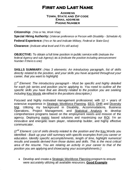 Federal Resume Template 8+ Free Word, Excel, Pdf Format