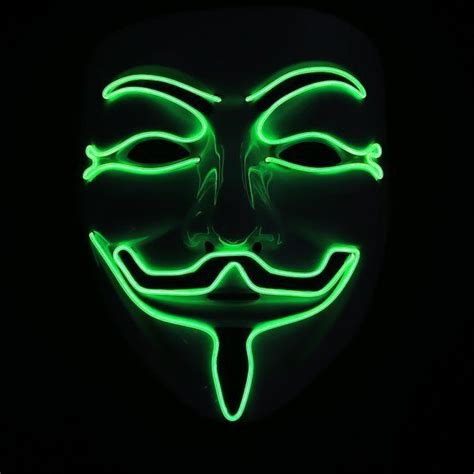 Light Up Led Guy Fawkes For Vendetta Mask El Wire Mask