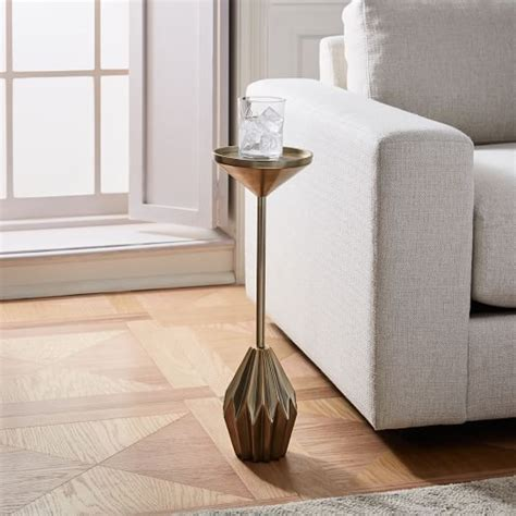 Faceted Brass Drink Table   west elm