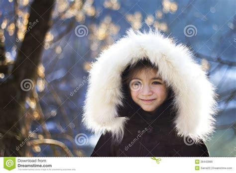 portrait  young girl wearing fur lined coat hood stock