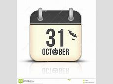 Halloween Calendar Icon With Reflection 31 Octobe Stock