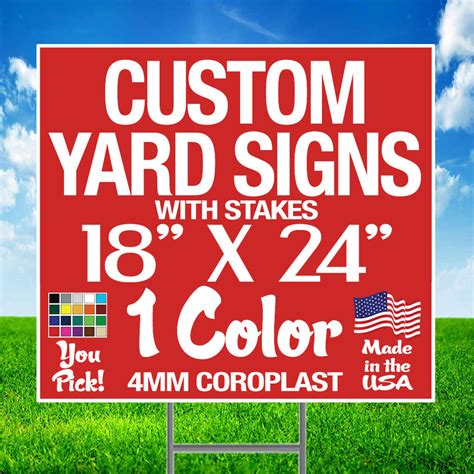 Custom Backyard Signs by 200 18x24 Custom Yard Signs Single Sided Stakes Ebay