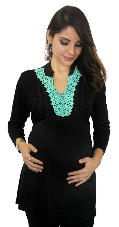 Blue Turquoise Embroidery Black Maternity Womens Long
