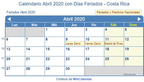 calendario abril imprimir costa rica